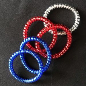 Accessories - Metallic Phone Cord Hairbands - Red, Blue, Silver
